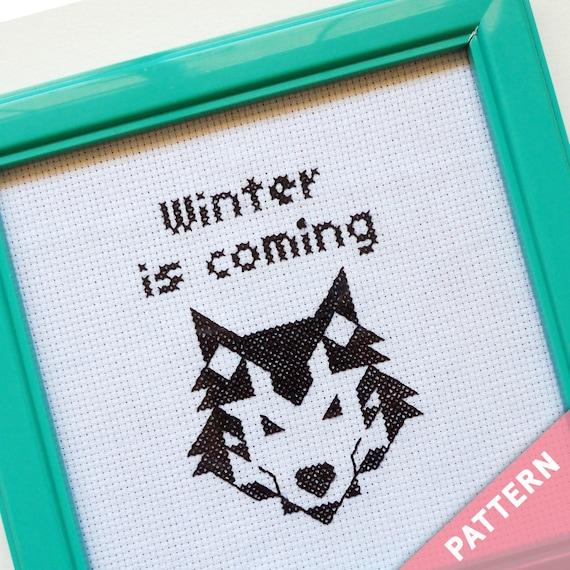 Patrón de punto de cruz de Juego de Tronos Winter is coming