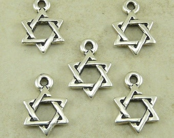 5 TierraCast Star of David Charms > Fine Silver Plated Lead-Free pewter - I ship Internationally - 2228