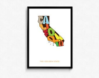 California Typography Map, California Printable, California Poster, California Print, State Art Print, Typography Map Poster, Digital Prints