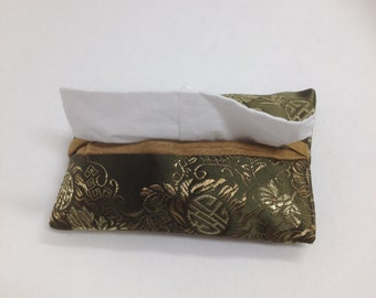 Pocket Tissue Cover, Travel Size, Satin, Brocade, Sage Green, Asian Print, Lined, Gold