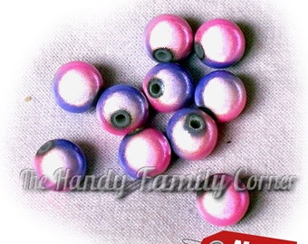 10 Round Miracle Beads, 8mm, Magic beads, pink purple blue DSH(P1Mrb)