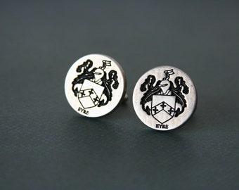Personalized Family Crest Cufflinks Custom Coat of Arms - personalized with your family crest