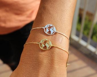 World Bracelet, Globe Bracelet, Dainty Bracelet, World Map Bracelet, Map Bracelet, Bracelet For Women, Globetrotter Bracel,  travel Bracelet