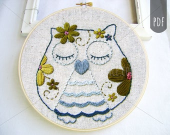 Embroidery Pattern PDF Flower Power Owl