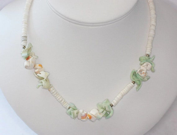 Puka Shell Necklace Pastel Dyed Shell Accents Hand Made in Philippines