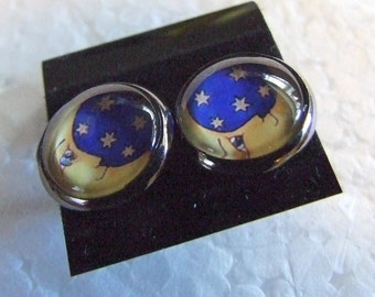 Moon and stars  12 mm Post Earrings