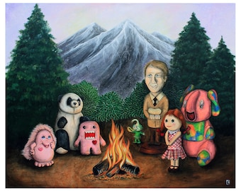Campfire of Misfit Toys - 8x10 Art Print - Surreal Camping with Reject Toys - Art by Marcia Furman