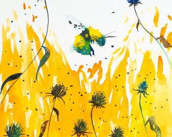 "Watercolor Painting Bumblebee in Blackeye Susans, Giclee Print 8""x10"""