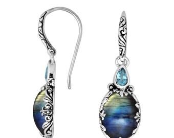 bali labrorite blue topaz sterling silver earring