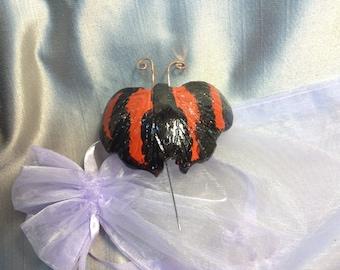 Butterfly Gourd Brooch/Pin:  Scarlet Leafwing Tropical Butterfly
