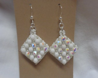 Opaque White AB Czech Fire polished Beaded Netted Earrings,  Double Sided, Woven Earrings