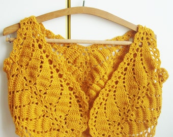 Mustard yellow bridesmaid, womens vest crochet shrug bolero large size womens clothes