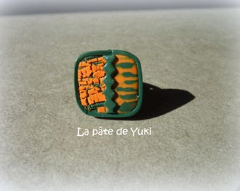 Adjustable ring square cracked orange green handmade polymer clay