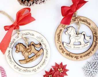 1st Christmas decoration , Babys first Christmas decoration , Personalised Christmas tree decoration , Rocking horse decoration