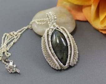 Labradorite Marquis Pendant Wire Wrapped in Sterling Silver ~ Wire Artisan Pendant ~ Adonia Jewelry