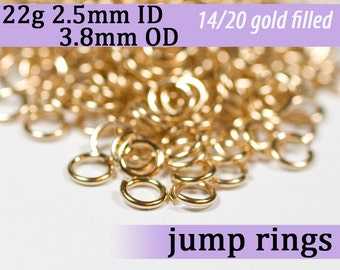 22g 2.5mm ID 3.8mm OD gold filled jump rings -- 22g2.50 goldfill jumprings 14k goldfilled