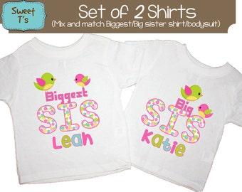 Sister Birds Shirt Personalized SET Little Sister Pink Sibling Personalized Big Sister Big Brother Shirts bodysuit SET