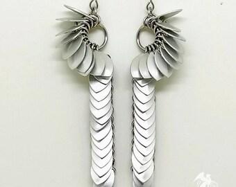 Tiny Scale Asymmetrical Earrings - Boho Earrings - Chainmaille Earrings - Drop Earrings - Statement Jewelry - Scale Maille