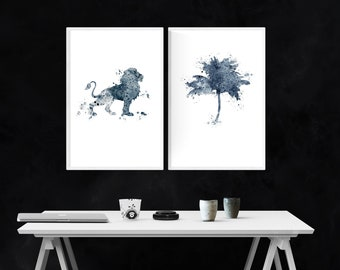 Safari Style Watercolor Splatter Wall Art Set / Printable Wall Art / Lion And Palm Tree Silhouettes / Instant Download / Wall Art / 2 Images