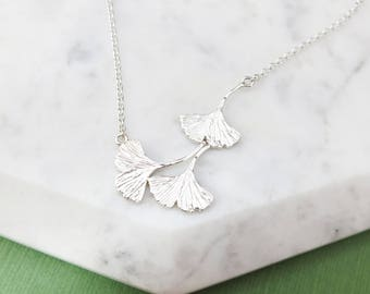 Falling Ginkgo Leaves Necklace - Sterling Silver, Ginkgo Biloba Leaf, Nature, Tree, Botanical Inspired Pendant, Delicate Necklace