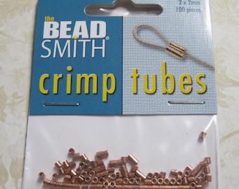 Crimp Tubes Copper Plated Crimps 2mm x 2mm 100 pcs F434