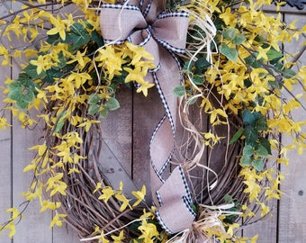 "26"" Forsythia Wreath, Yellow Wreath, door Wreath, Summer Wreath, Front Door Wreath, Forsythia door wreath, Yellow door wreath, Spring Wreath"