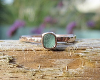 Rose gold and extra dainty Cornish sea glass ring.