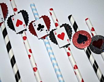 Alice in Wonderland Party Straws Favor, Alice In Wonderland Birthday, Party Favors, Mad Hatter Birthday Favor, Alice Paper Straws, Cups