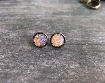 Gorgeous Autumn Orange AB Druzy Stud Earrings, Bronze base, 10mm, Gift