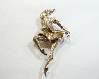 Stunning Marcel Boucher 1945-46 Sterling & Rhinestone Dancer / Sprite Brooch