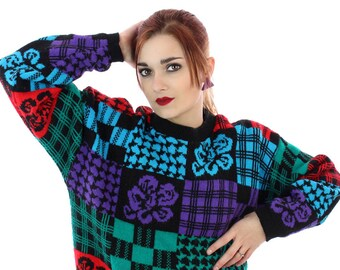 80s Houndstooth Sweater Bright Colorblock 1980s Colorblocked Pullover Oversized New Wave Indie Punk Retro Winter Warm Cute Medium M Large L
