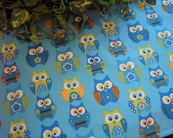 Table Runner Owls Turquoise Lime Green Orange Padded