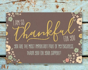 Business Thank You Card - Printable - Instant Download - Thankful - Thanksgiving - Floral - Handwritten