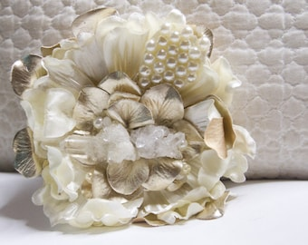 One-Of-A-Kind Quartz and Pearls Magnolia Hair Flower Clip with Raw Natural Quartz Crystal // Upscale Fashion Accessories / Luxury Headpiece