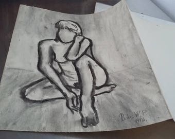 Vintage Modern Art Picture Painting of a Faceless Naked Lady. Original ?