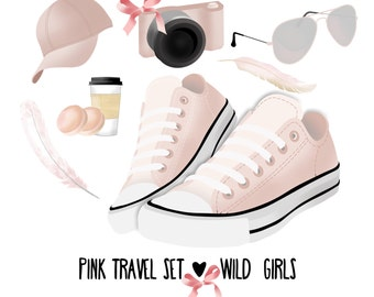 Travel pink set clipart, trainers clipart, sunglass clipart