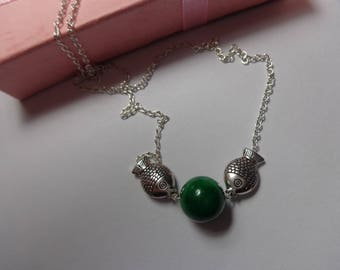 Jade Necklace, Green Jade Necklace, Gemstone Jewelry, miao jewelry miao fish necklace,, sterling silver green jade fish necklace,