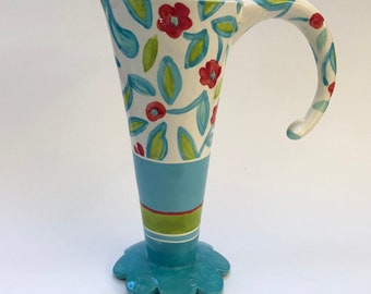 Colorful whimsical turquoise, lime green & red flower pottery Vase or Pitcher Alice-in-Wonderland home decor