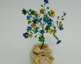 Wire tree sculpture ,beaded tree, bonsai tree, tree of life , feng shui tree ,blue green and gold  flowers