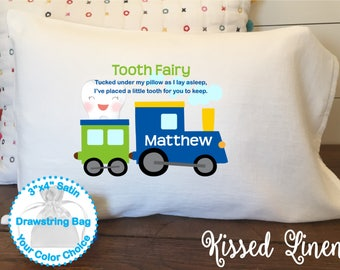 Personalized Tooth Fairy White Toddler Travel Pillowcase Soft 100% Cotton Flour Sack Fabric Boy Train Engine Transportation Tooth Pillow