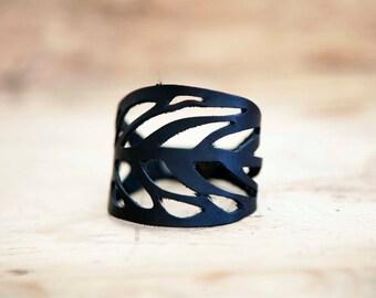 Black LACED leather BRACELET // Leaf Leather Bracelet