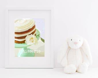 Patisserie Cake Digital Art Print - Typography, Instant Download, Pastry Shop, Dessert, Cake with Flowers, Nursery Art, Girl's Room, Sweets