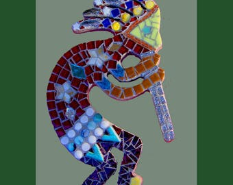 Mosaic Kokopelli Mixed Media ooak Stained Glass  Original Design