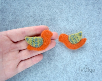 Pair Of Brooches Bird Family Look Pins Orange Embriodered Broach Woolen Jewelry Needle Felted Bird Set Of Brooches Mothers Day Daughter Gift