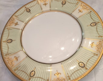Dinner Plates,6 Royal Doulton Plates With Green Stripes,Encrusted 22Kt Embossed Gold Embellishments,Neoclassic,Cabinet Display,Wedding Gift