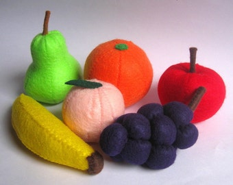 Felt food fruit set eco friendly children's pretend play food for toy kitchen apple, banana, pear, peach, orange and grapes