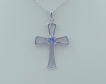 Sterling Silver Tanzanite Cross Pendant