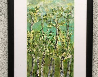 The Birch Wood a mixed media abstract painting on paper 16cm x 25cm