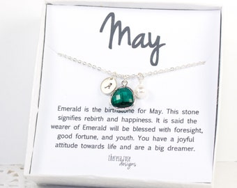 May Birthstone Personalized Silver Necklace, May Birthday Jewelry, Personalized Silver Necklace, May Birthstone Gift, Bridesmaid Jewelry