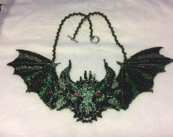 Peyote Stitch Pattern for Dragon Bat Necklace